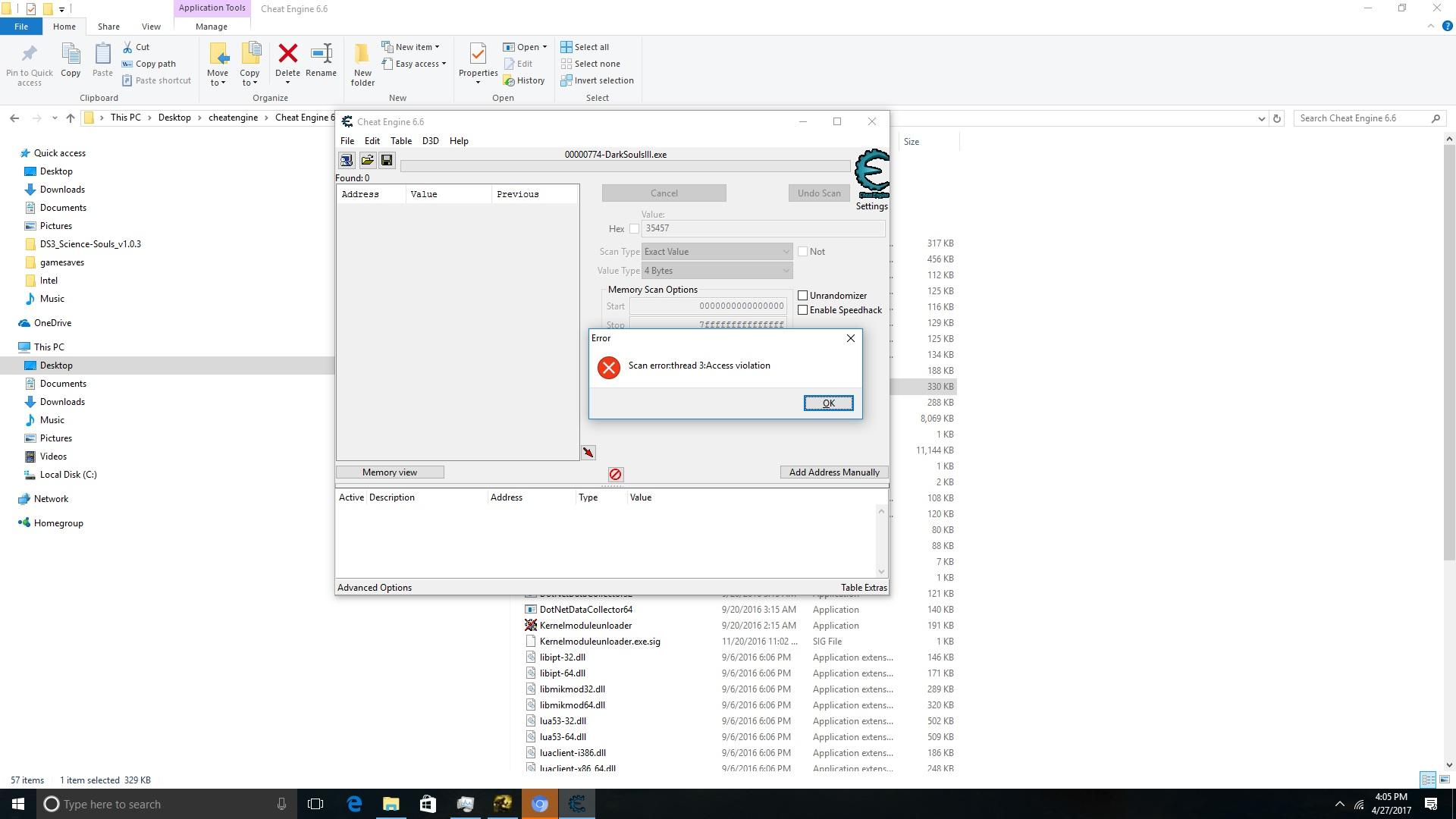 Cheat Engine :: View topic - Access Violation 3 error on