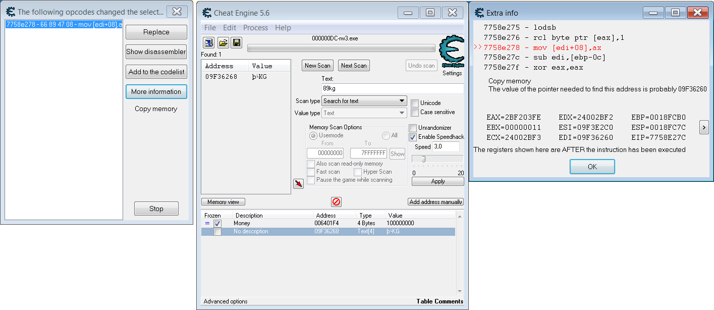 Cheat Engine :: View topic - Edit text in games