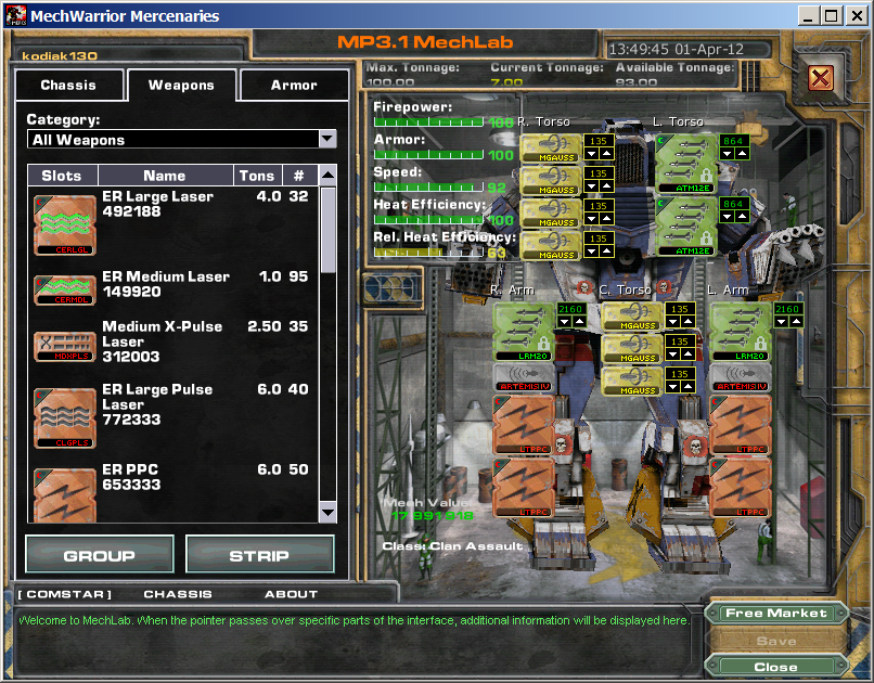 MechWarrior 4: Mercenaries - MekTek - FearLess Cheat Engine